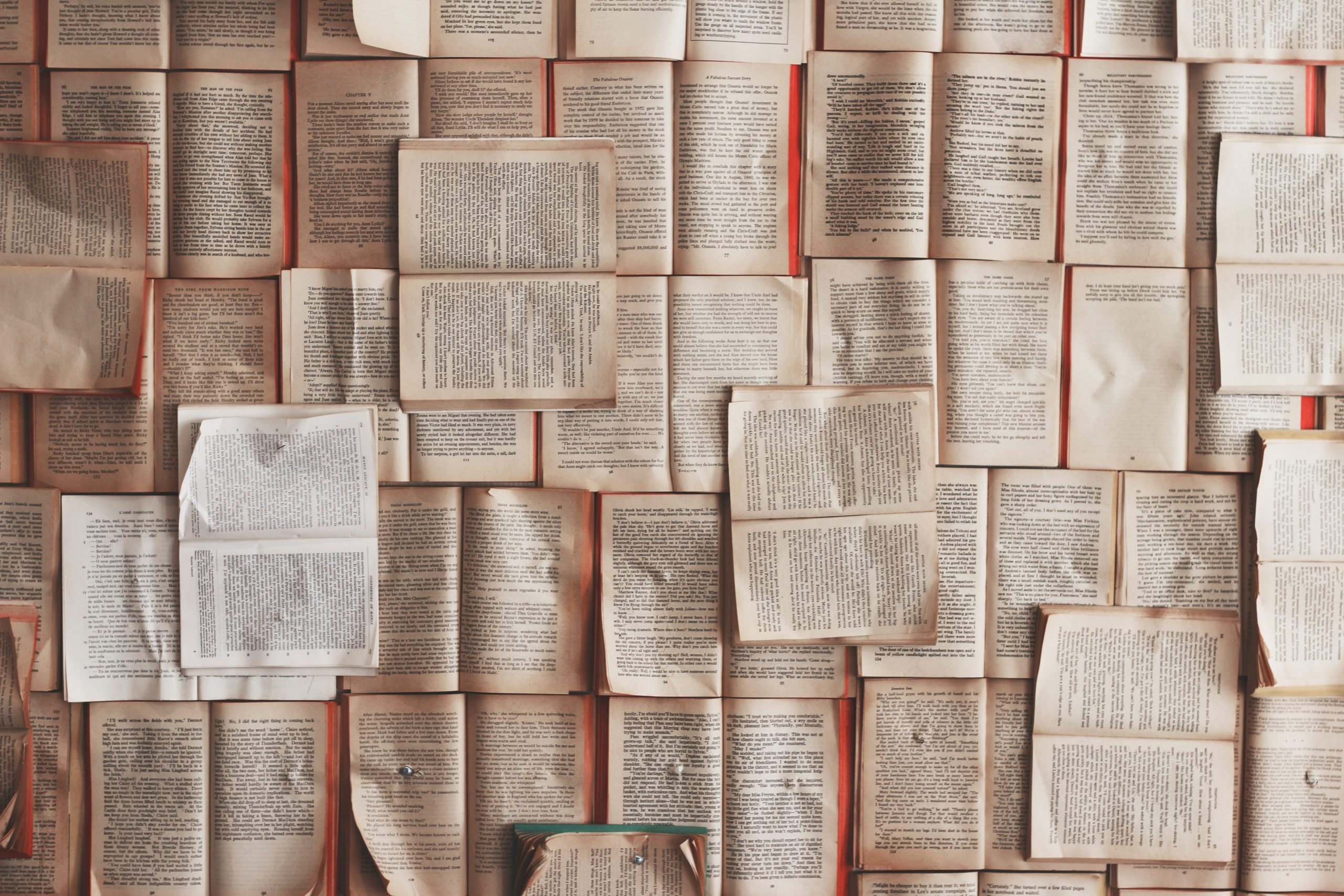 Open books are pinned to a wall like overlapping tiles (Photo by Patrick Tomasso on Unsplash)